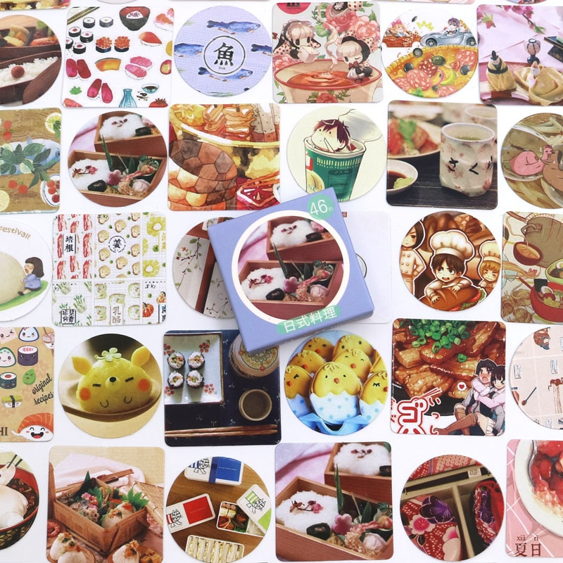 46 PCS/box New Food Diary Paper Lable Stickers Crafts And Scrapbooking Decorative Lifelog Sticker DIY Lovely Stationery недорого