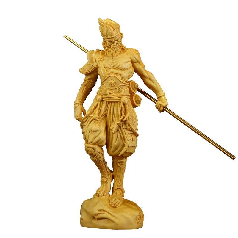 Estatua de personas de Fire Monkey King, madera, Son Goku, regalo de China, muñeco tallado, decoración de pared, figura en miniatura R1568