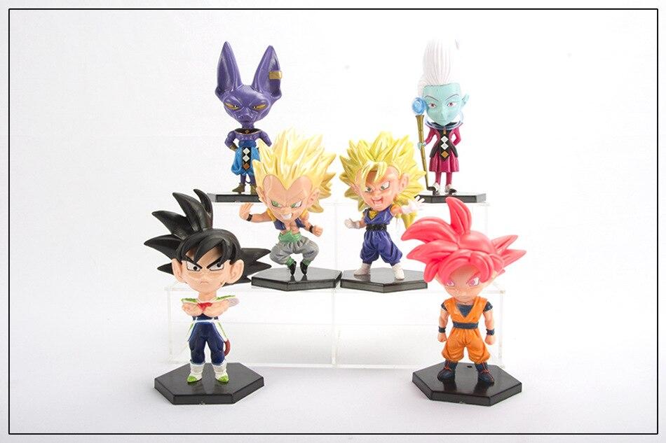Anime 12-14CM, 6 unids/set Dragon Ball Super Saiyan Goku Whis Beerus ir figura PVC juguetes de modelos coleccionables muñecas, regalo