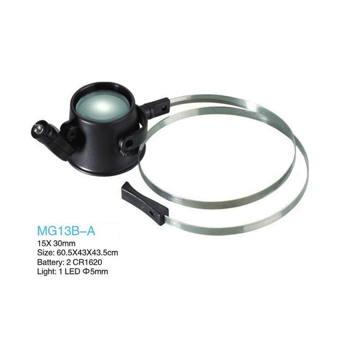 Lupa de 15X LED iluminada con lupa manos libres y banda para la cabeza con batería de litio Metal 2CR1620