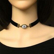 Imixlot collier ras du cou de globe oculaire Halloween corde en cuir noir pour hommes femmes chaîne clavicule bijoux de mode