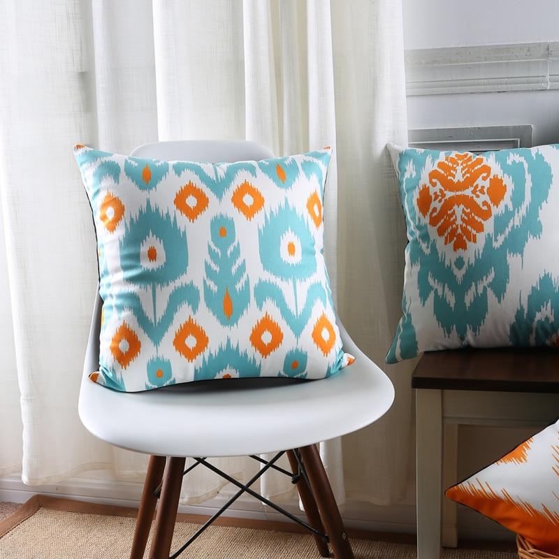 Venta al por mayor suave funda de cojín de terciopelo azul naranja geométrico Ikat Damasco decorativo funda de almohada 45x4 5cm/30x50cm