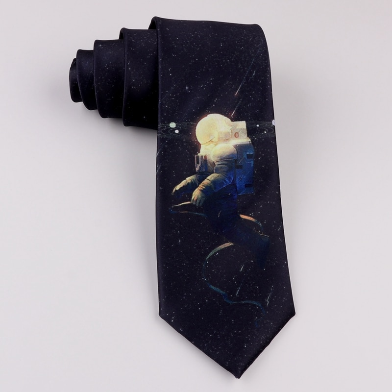 Design printing creative tie retro casual trend personality literary male and female students space astronauts tie