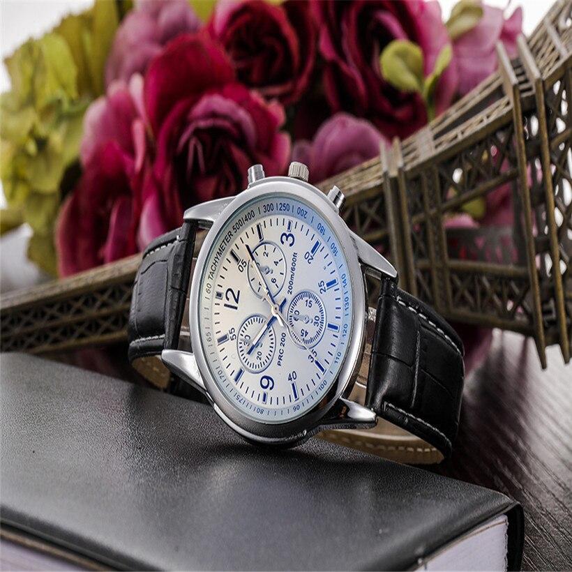 Brwon relógio masculino luxo moda falso pulseira de couro azul ray vidro dial relógio de quartzo masculino casual negócios relogio masculino