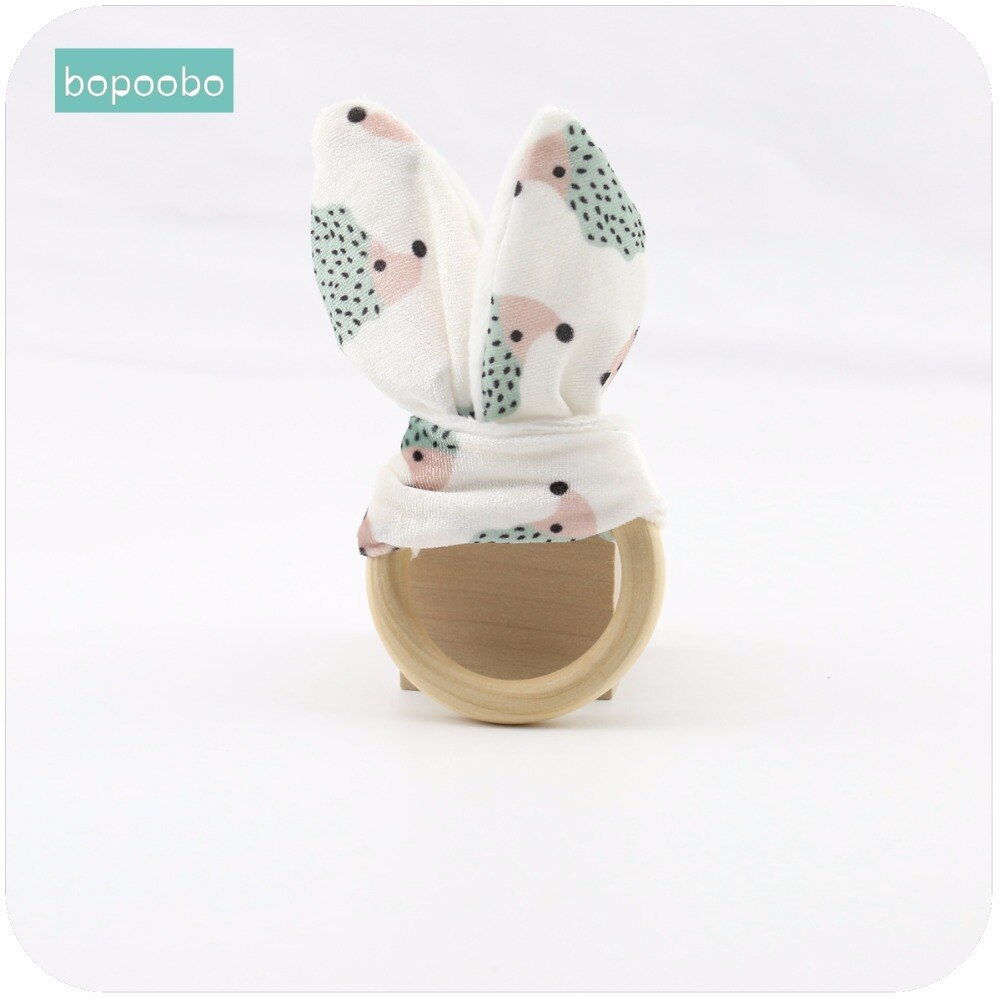 Bopoobo Baby Teether Accessories 1pc Bunny Ear 70mm Wood Circle Fabric Wooden Teething Training Newborns Can Chew Bracelets
