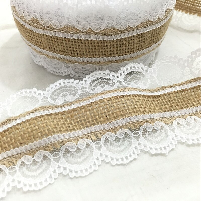10m natural juta serapilheira hessian laço fita rolo + laço branco decoração do casamento do vintage festa de natal decorativo aa8078