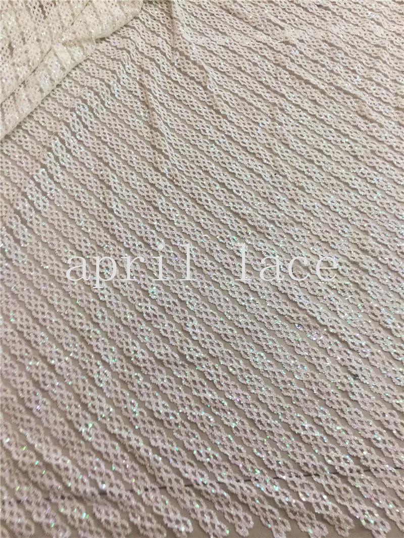 5 yardas D55 # marfil brillante raya dobby sexy glued glitter malla tul tela de encaje para serrar/vestido de noche