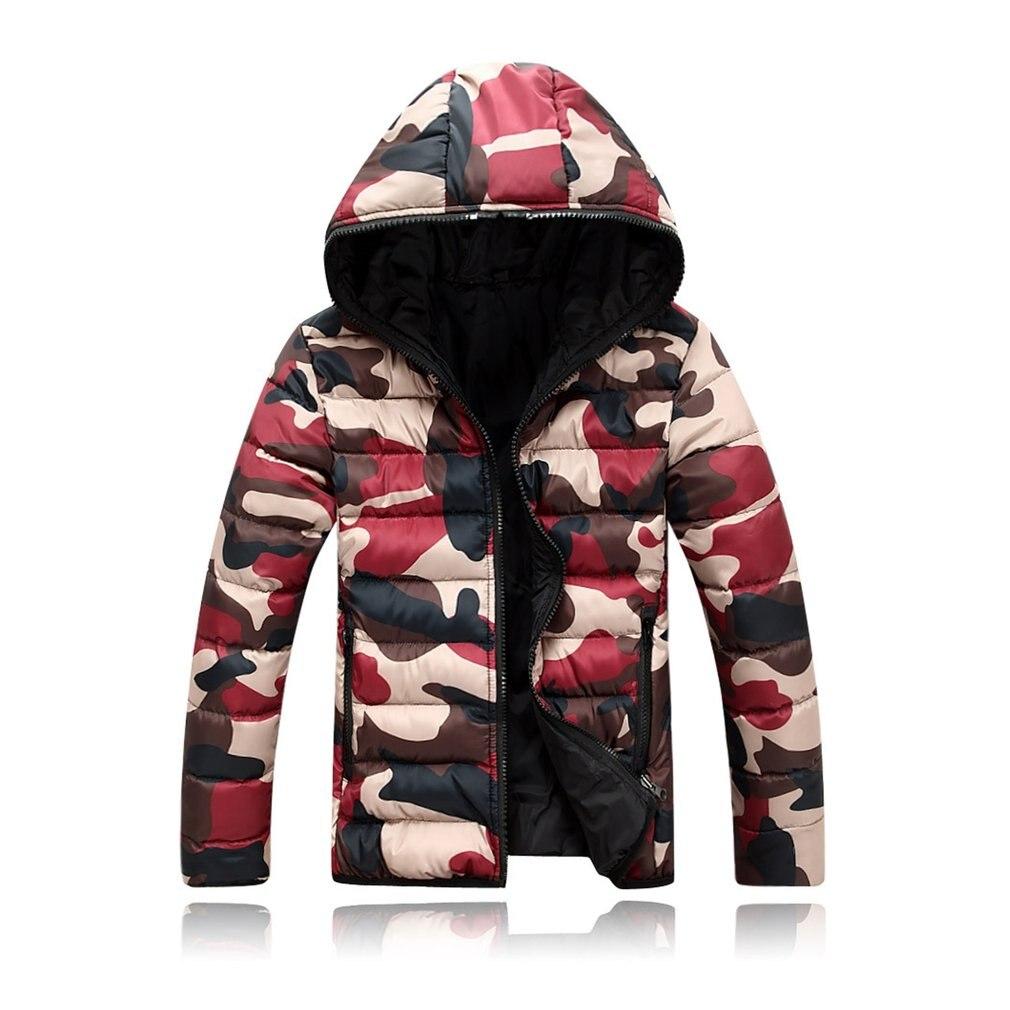 De talla grande M-4XL hombres prendas de vestir abrigos 2019 de invierno cálido grueso chaqueta de manga larga chaqueta bomber militar de camuflaje con capucha con cremallera abrigo