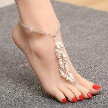 Hot moda Barefoot beach sandały ślubne/ślub naturalny żwir anklet foot biżuteria kryształ łańcuszek na nogę