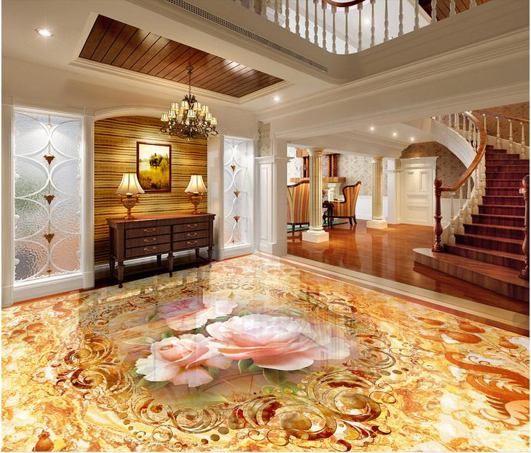 Luxo 3d pintura piso Personalizado à prova d água-papel de parede-de-Flor de mármore do banheiro piso 3d auto-adesivo papel de parede