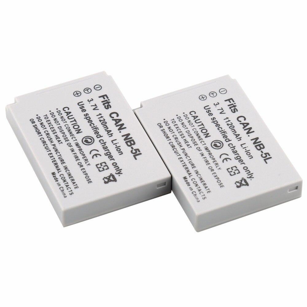 PROBTY 2 uds NB-5L NB 5L NB5L batería para Canon IXUS 800 IS 850, 860, 870, 900 90 950, 960, 970, 980, 990 es IXY 800, 810, 820, 830 Cámara