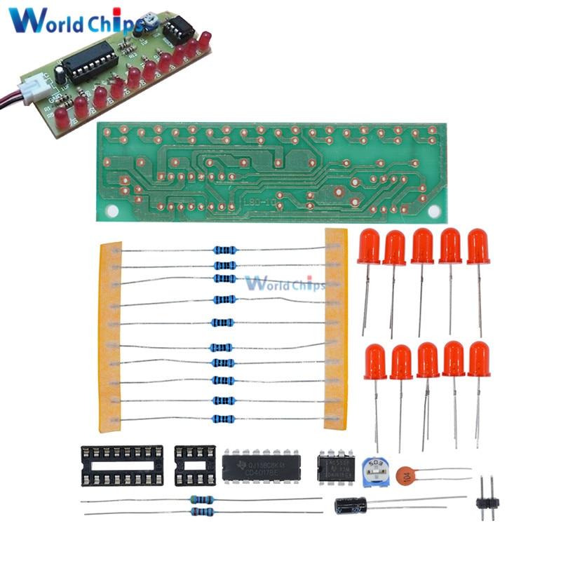 NE555 + CD4017 Practice Learning Kits LED Flashing Lights Module Electronic Suite LSD-10 3-4.5V DIY For Arduino