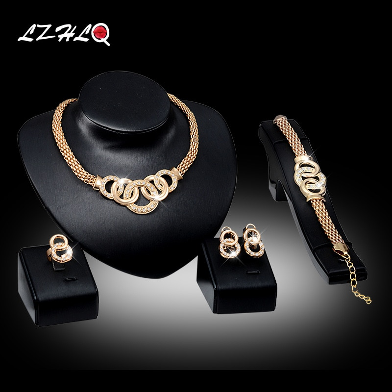 LZHLQ 2020 Fashion Brand Jewelry Set Geometric Splice Circle Rhinestone Pendant Necklace Maxi Metal Plated Women Wedding Jewelry
