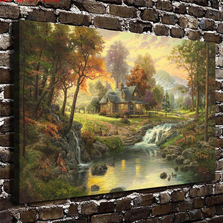 Thomas Kinkade retiro de montaña de pintura de la lona impresión habitación decoración para el hogar moderno arte de la pared pintura al óleo Poster
