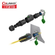 CNLINKO M24 Outdoor IP67 LC Optical Fiber Waterproof Connector Panel Mount Data Optic Male Plug & Female Socket Quick Connector