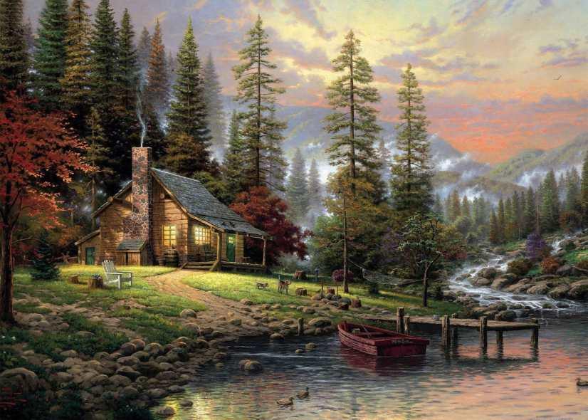 Paisaje Thomas de la pared pintura Al óleo de paisaje Pinturas Al...
