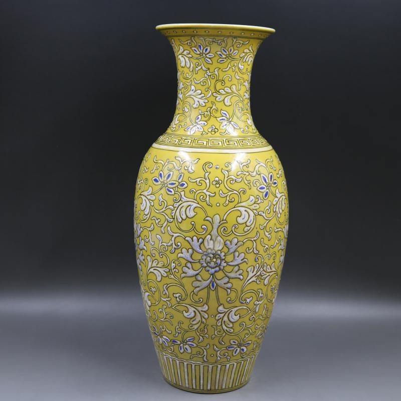 Vaso de porcelana antigo QingDynasty, Amarelo branco garrafa de vidro, pintados à Mão-de artesanato, Decoração, coleção & Adorno, Frete grátis