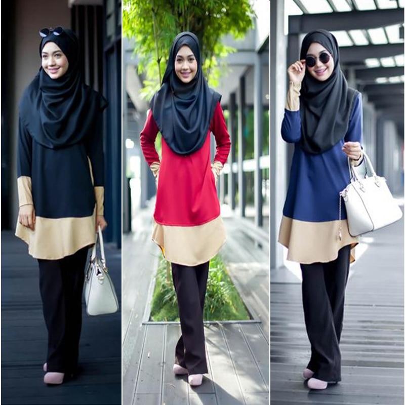 Blusa muçulmana malásia árabe roupa islâmica longo topos indonésia dubai kaftan camisas compridas muçulmana mulher ramadã senhoras topos