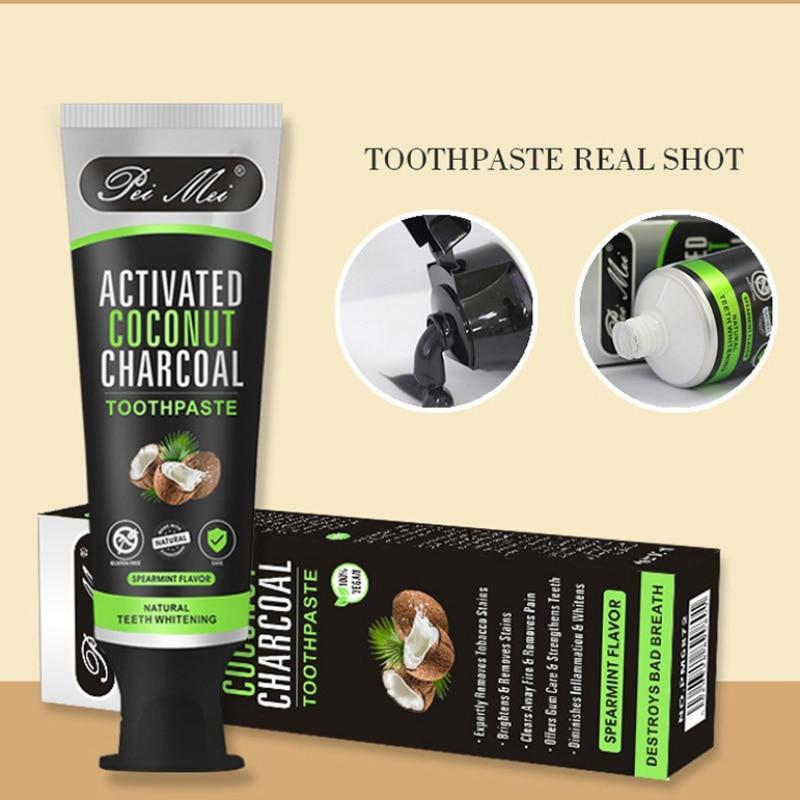 100% ervas naturais ativado dentes de carvão vegetal de bambu branqueamento creme dental preto sabor hortelã mancha remoção branqueamento pasta de dentes