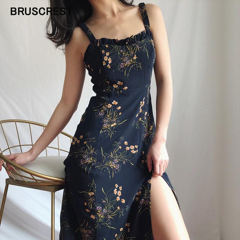 Chiffon Black Sundress Women Casual Spaghetti Strap Ruched Vestidos Floral Summer Dress Split Midi Dresses 2019