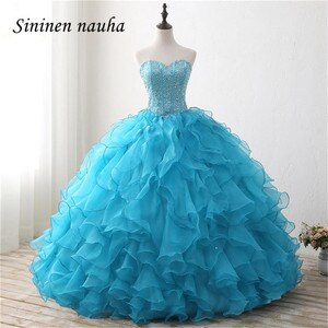 Blue Quinceanera Dresses Long Prom Party Dress Sweetheart Beaded Dance Ball Gown Cheap Vestidos De 15 Anos Sweet 16 Dresses 297