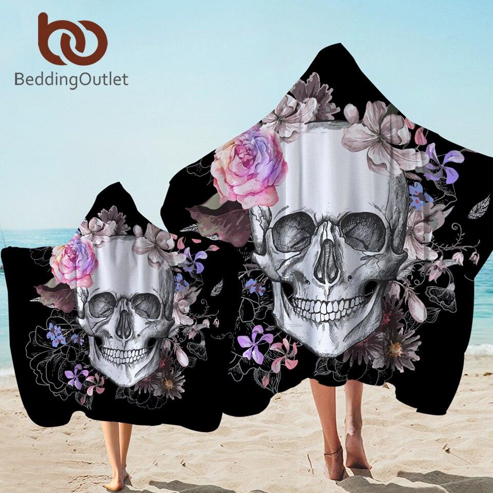 BeddingOutlet toalla con capucha de cráneo de azúcar, Toalla de baño gótica para adultos con capucha, Toalla de microfibra Floral para vestir en la playa