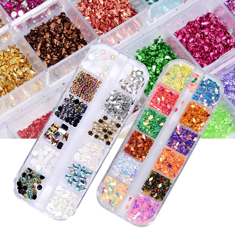 Круглые шарики для дизайна ногтей, блестящие стразы, акриловый УФ-гель, камни, с твердым чехлом, 12 цветов, 2 мм