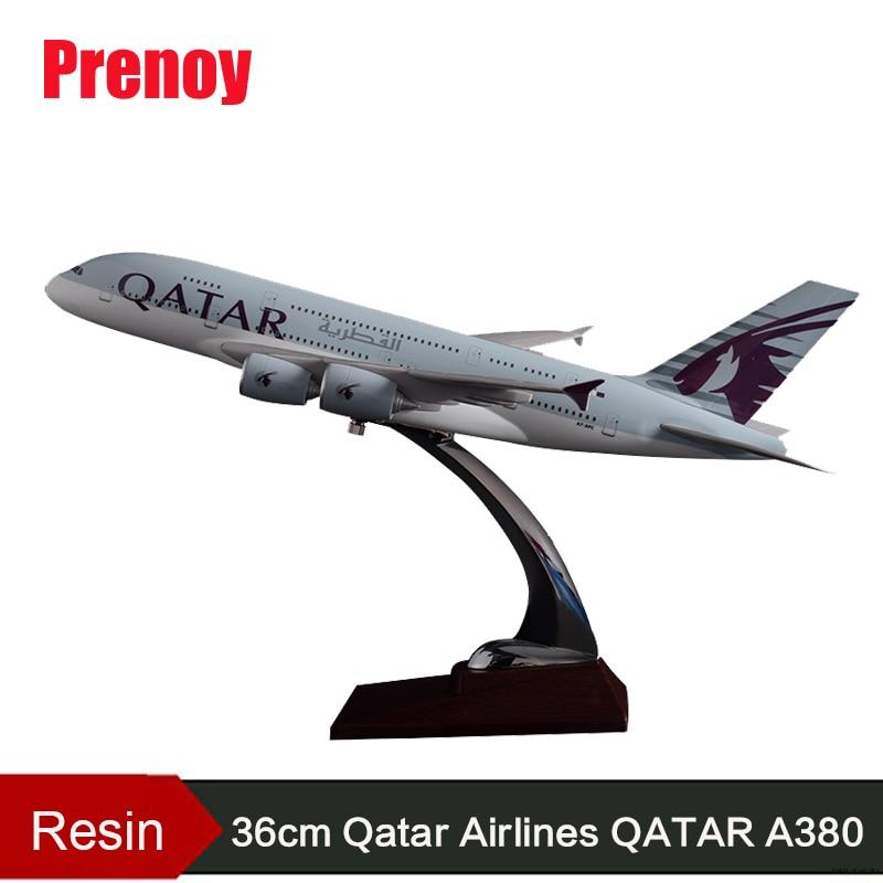 Avión de juguete de resina de 36cm, modelo A380 de catar Airlines Airbus, de la aviación internacional de catar airairairways