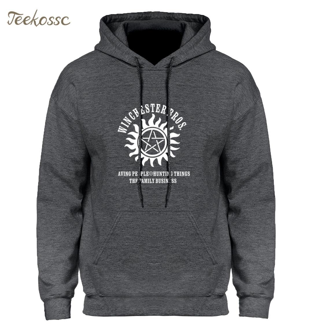 Supernatural Hoodie Men Winchester Bros Saving People Things Hoodies Mens 2018 Winter Autumn Print Gray Blue Hooded Sweatshirt