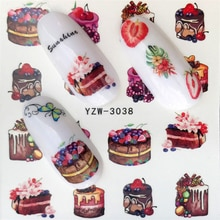 FWC Summer Fruit Strawberry Cherry Cake Ice Cream Nail Art Water Transfer Sticker Decor Slider Decal Manicure
