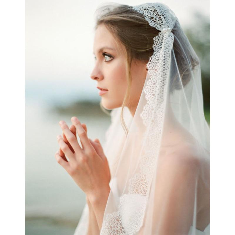 Velo de novia de encaje para mujer, velo de novia, capas de tul, borde de cinta, accesorios de boda velos de novia 2019
