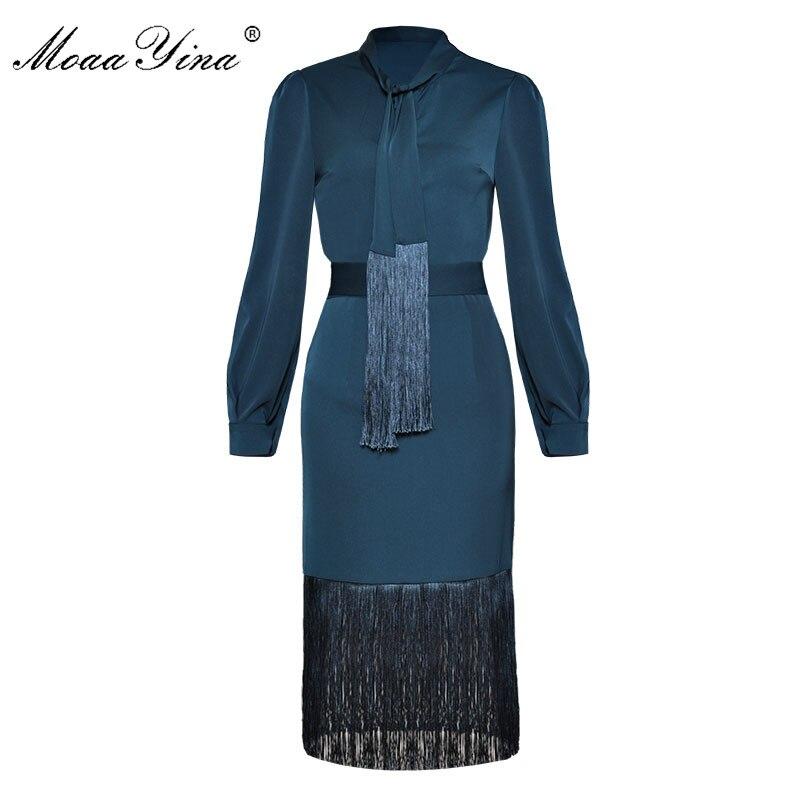 MoaaYina Moda Carreira Escritório Two-piece suit Mulheres Primavera Arco colla Elegante Shirt Tops + Pacote Sexy nádegas Borla conjunto saia