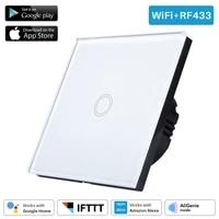Interrupteur lumineux WiFi intelligent universel  1 bouton  controle vocal  application Standard EU UK  Compatible avec Amazon Alexa Google Home Mini