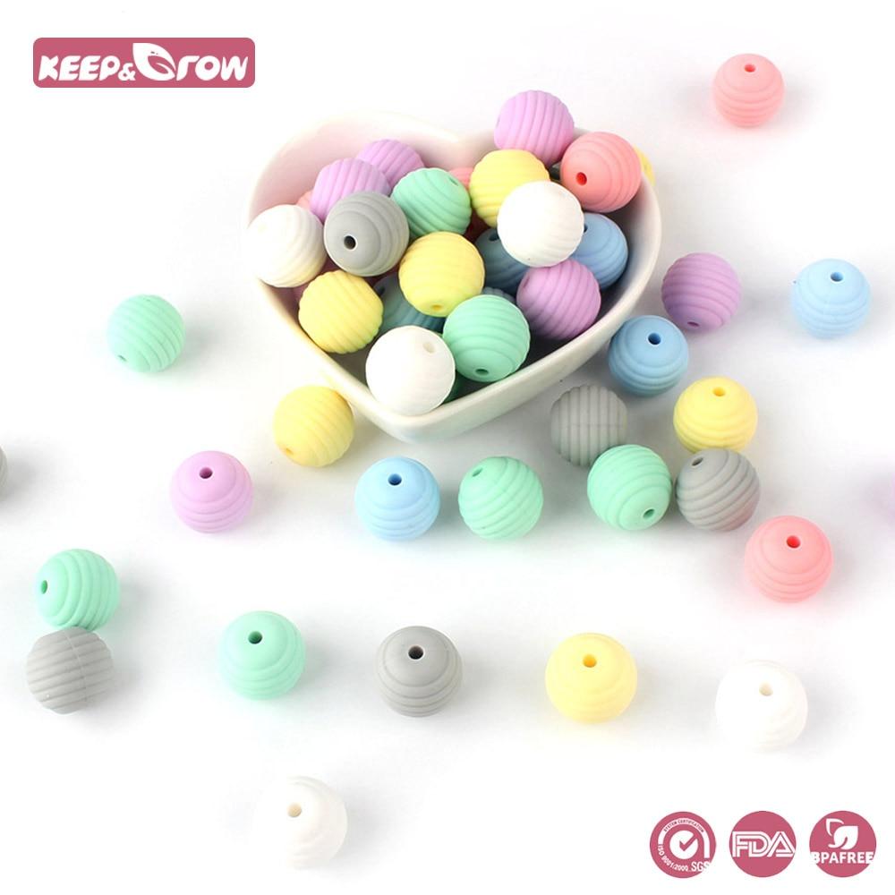 Cuentas de silicona de hilo para bebés Keep & Grow, mordedores de silicona de grado alimenticio, perlas de silicona DIY, cadena de chupete para bebés, sin BPA 10 Uds.