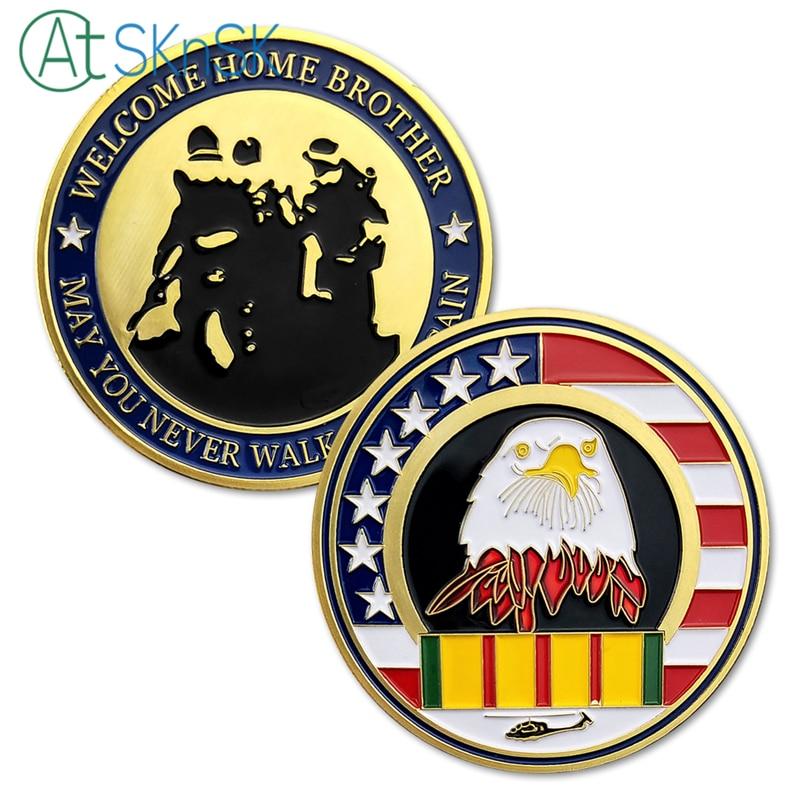 50/100 unids/lote fuerzas armadas de los Estados Unidos Bienvenido a casa Moneda de desafío hermano puede You Never Walk Alone de nuevo colección de monedas