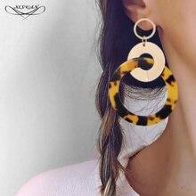 Mode grand rond géométrique femmes longues boucles doreilles couleur or marron écaille de tortue acétique boucles doreilles circulaire tempérament bijoux
