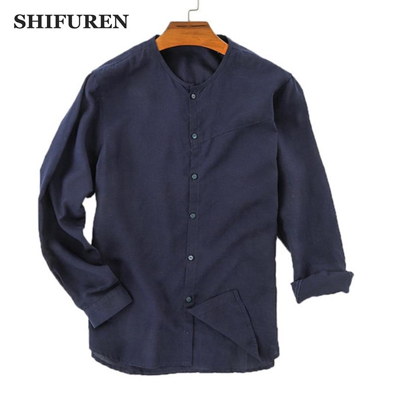 SHIFUREN 2019 Primavera Verano hombres algodón Lino Camisas manga larga suave transpirable hombre Social camisas Tops blusa ropa