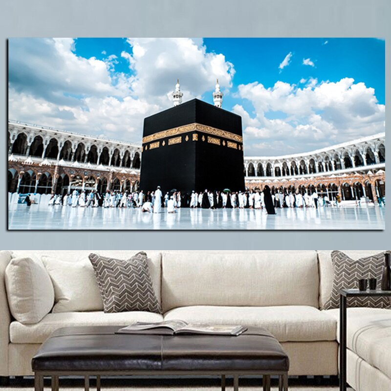 Imprimir Meca islámico último día de Hajj redondo ornamento ver musulmana mezquita paisaje pintura sobre lienzo arte religioso Cuadros Decoración