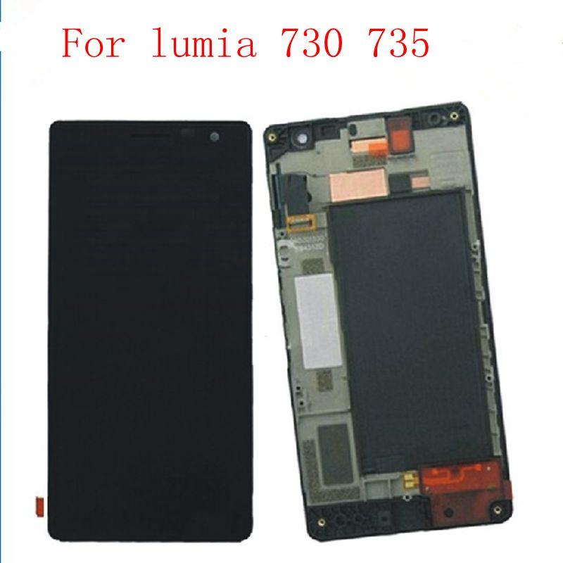 4.7 ل lumia730 RM-1039 1038 شاشة lcd + touch زجاج محول الأرقام الجمعية الإطار الكامل ل نوكيا lumia 730 735 استبدال شاشة