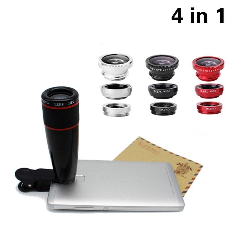 High Quality Phone Lenses Kit 12X Telephoto Lentes Clip 3 in 1 Wide Angle Macro Fisheye Fish eye Lenses For iPhone 6 6s 7 8 Plus