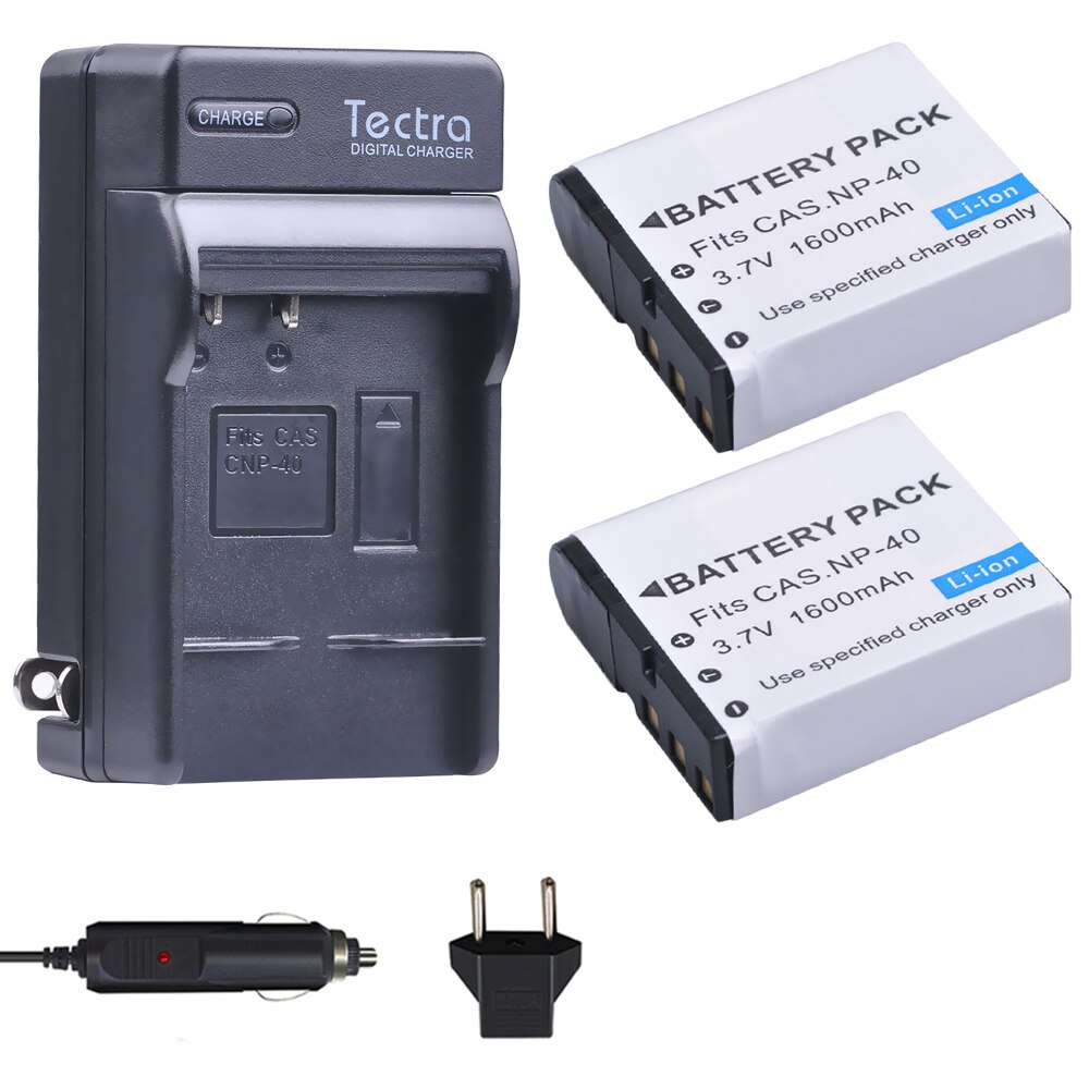 Tectra 2Pcs NP-40 NP40 NP 40 Battery+ Digital Charger for Casio EX-Z400 FC100 FC150 FC160S P505 P600 P700 Z300 Z600 EX-Z850