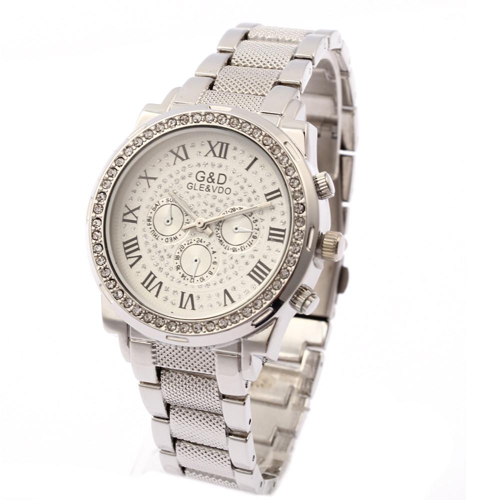 Женские наручные часы G & D, серебристые кварцевые аналоговые Модные женские наручные часы из нержавеющей стали, женские наручные часы
