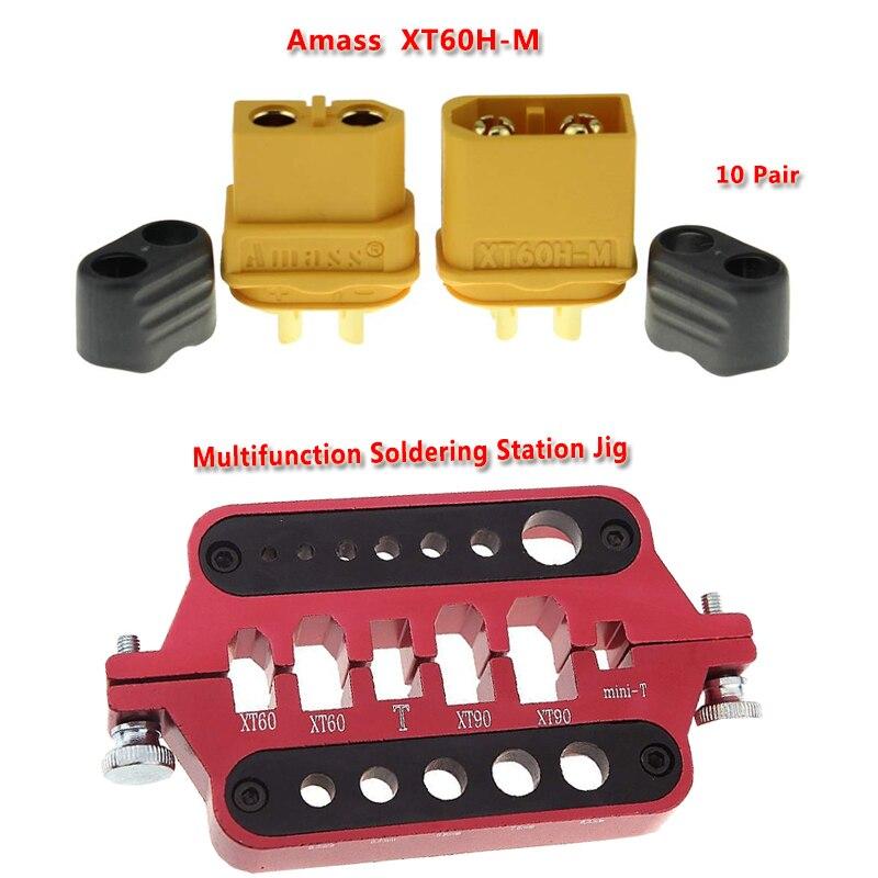 Amass 10 par XT60H conector bala + aluminio soldadura aislar estación plantilla RC herramientas para XT60 XT90 decanos