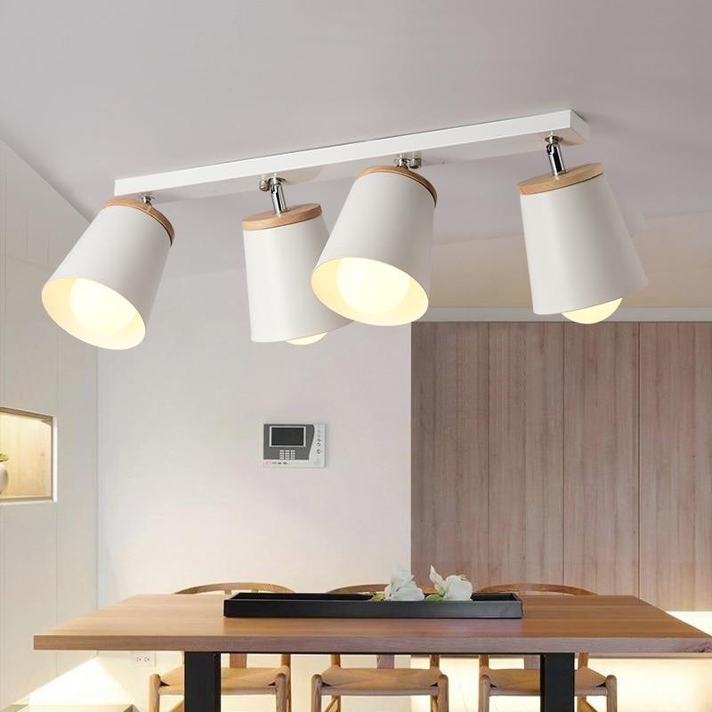 مصباح إضاءة منزلي حديث أبيض وأسود 1/2/3/4 رؤوس إضاءة للسقف ممر قابل للتعديل من المعدن والخشب E27 إضاءة داخلية للمتجر