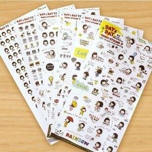 6 unids/lote pegatinas creativas de estilo coreano, pegatinas de PVC para álbum de recortes de serie de chicas lindas, pegatinas de papel para teléfono diario, regalo para niños