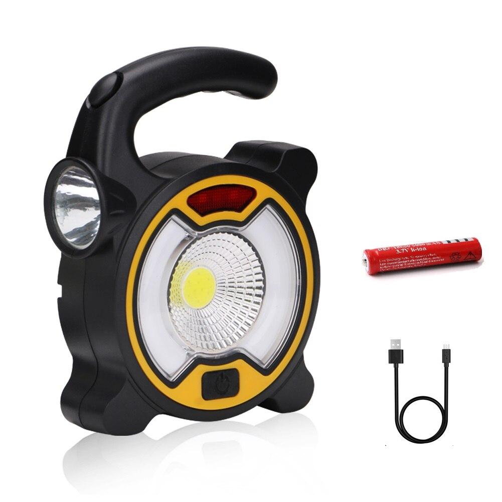 Interruptor doble 4 modos al aire libre LED reflector portátil trabajo luz LED USB recargable 18650 linterna Lampe Camping tienda Luz