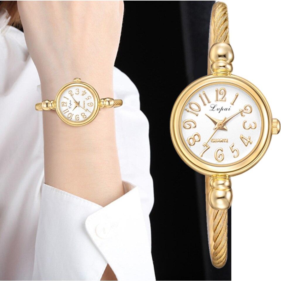 Lvpai femmes petit Bracelet en or Bracelet de luxe montres en acier inoxydable dames montre-Bracelet à Quartz marque décontracté femmes robe Colck