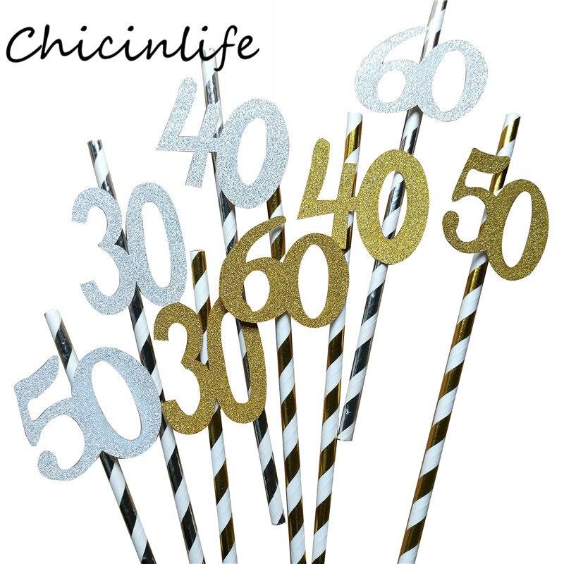 Chicinlife 10 Uds oro/Número plateado 30/40/50/60 años de edad, pajitas de papel para beber, suministros de decoración de aniversario para fiesta de cumpleaños de adultos
