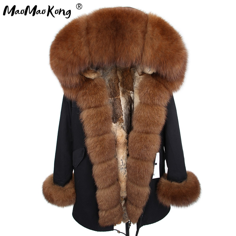 2018 MaoMaoKong natural real Rabbit Fur liner women parkas natural fox fur Hooded winter Jacke coat long fur Parka outerwear