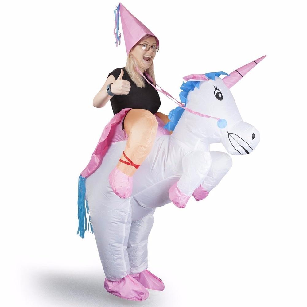 Trajes infláveis do unicórnio para o passeio adulto no cosplay ternos animal fantasia vestido de halloween festa carnaval airblown traje outfits
